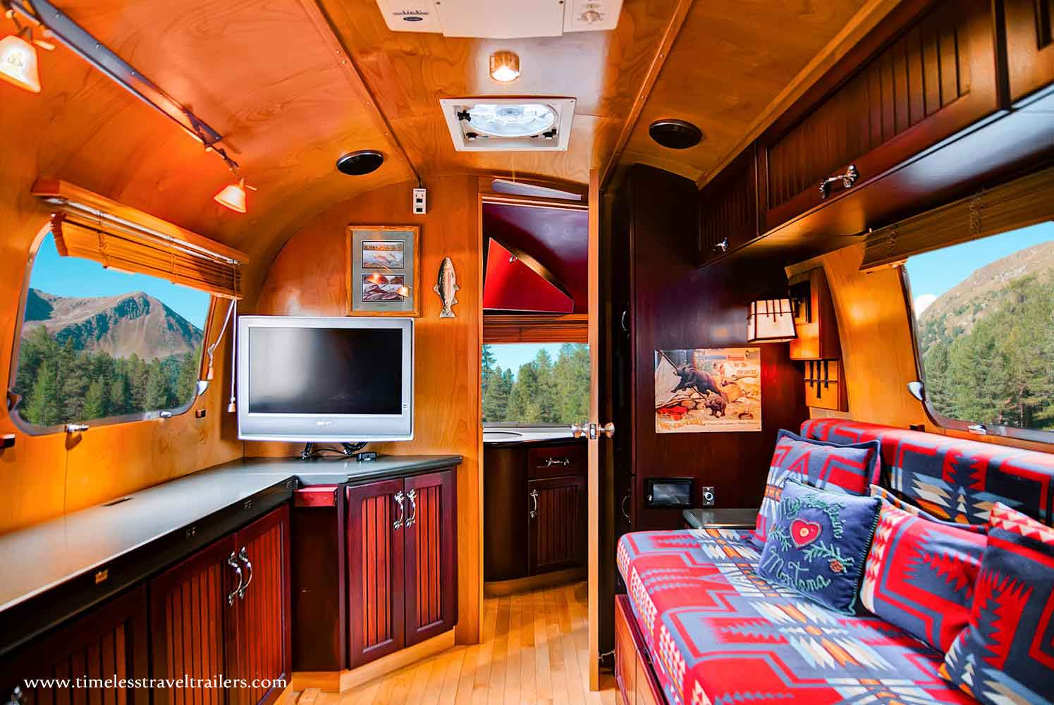 rustic themed airstream filled with all the modern day. Black Bedroom Furniture Sets. Home Design Ideas